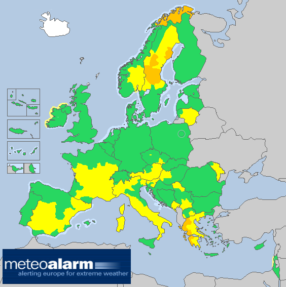 Warning Map in Meteoalarm