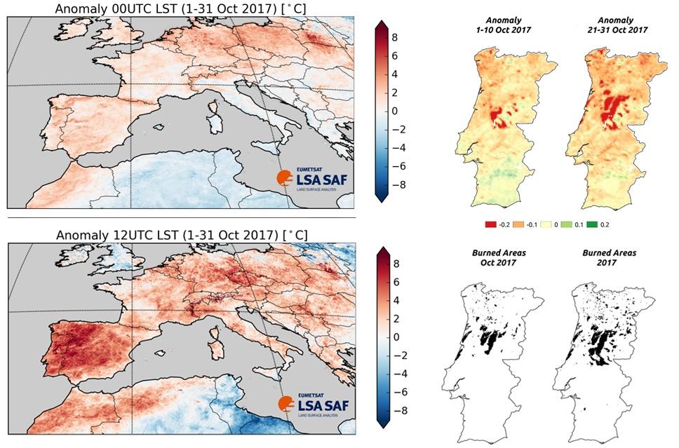 (Topo, esquerda) Anomalia da temperatura às 00UTC. Dados da LSA-SAF. (Baixo, esquerda) Anomalia da temperatura às 12UTC. Dados da LSA-SAF (Topo, direita) Anomalia da Fração de Coberto Vegetal nos primeiros dez dias de outubro e nos últimos dez dias de outubro. Dados da LSA-SAF (Baixo, direita) Áreas ardidas em outubro e no total do ano de 2017. Dados do ICNF.