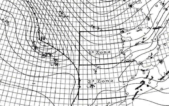 situação sinóptica às 00 UTC dos dias 11 fevereiro de 1956