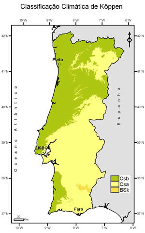 IPMA Clima Normais - Portugal rainfall map