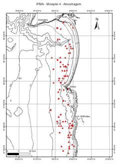Mapa de amostragem do projeto MINEPLAT com recurso a dragas Smith-McIntyre e multicorer de gravidade.