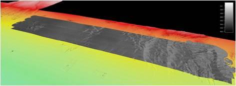 Mosaico de retro dispersão acústica (cinzentos) sobreposto a mapa de batimetria multifeixe. As manchas claras correspondem a elevada retro dispersão acústisca (high backscatter) de areias e afloramentos rochosos e, as escuras, a sedimentos predominantemente lodosos.