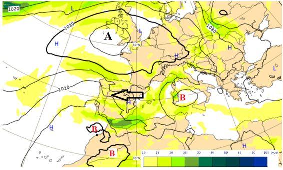 Análise do modelo do ECMWF de 27 março 2019 às 00 UTC, pressão ao nível médio do mar (linhas a preto) e vento aos 850 hPa (sombreado a cor). Seta indicadora do fluxo a preto