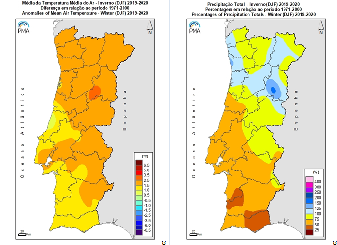 Spatial distribution of anomalies in mean air temperature (difference from normal value 1971-2000) and amount of precipitation (percentage relative to normal value 1971-2000) in winter 2019/2020