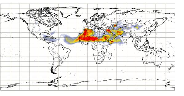 Imagem 1: Espessura ótica do aerossol (poeiras) a 550 nm prevista para terça-feira 30 às 12UTC (ECMWF-CAMS)