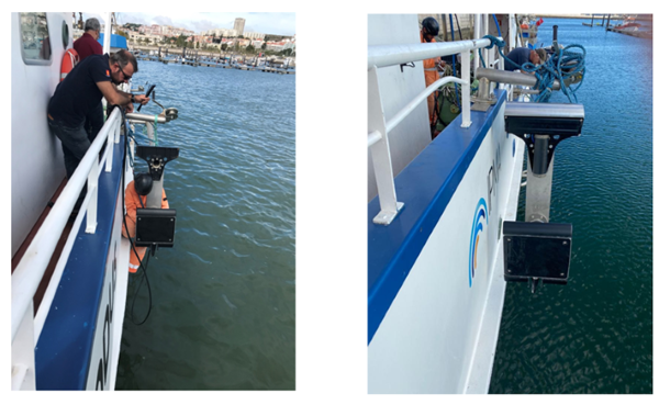 Figure 2- Left: Mounting the TOPAS PS120 bottom profiler. In the image the technicians of IPMA, Kongsberg (manufacturer) and supplier (3P consultants). Right: pole mounted with multi-beam echo sounder on top and bottom profiler on bottom