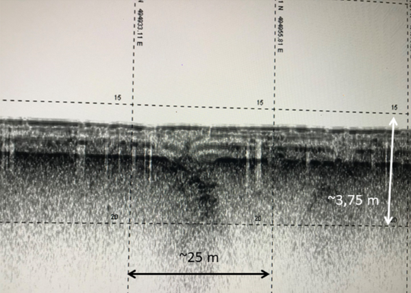 Figure 6- Image, screen copy, raw data from TOPAS PS120 bottom profiler obtained from the Tagus River. Note the disruption of recent sediments possibly due to a seismic event.