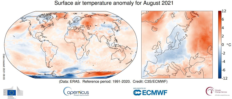 Figura 1: Anomalias da temperatura média do ar no mês de agosto de 2021 (período 1991-2020), ECMWF
