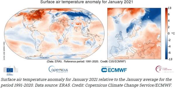 Figura 1: Anomalia de temperatura do ar à superfície, janeiro de 2021