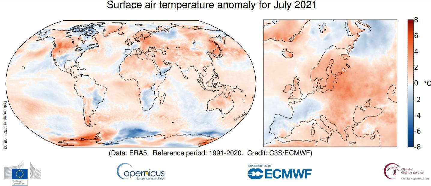 Figura 1: Anomalias da temperatura média do ar no mês de julho de 2021 (período 1991-2020), ECMWF