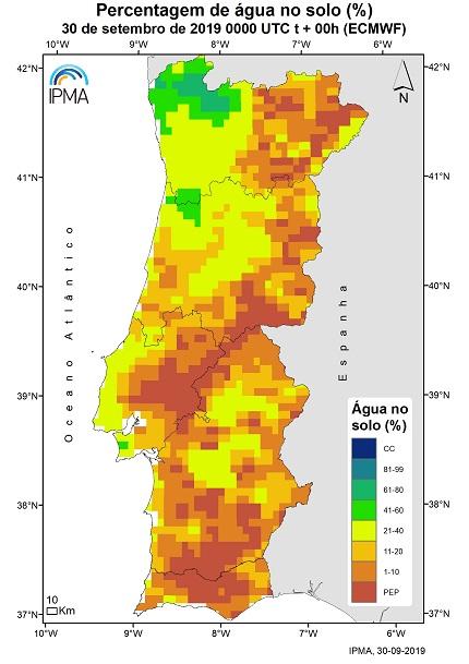 Percentagem de água no solo